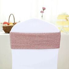 10 Rose Gold Glittered Spandex CHAIR SASHES Wedding Ceremony Party Decorations