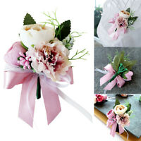Men Women Groomsman Corsage Flower Brooch Groom Boutonniere Wedding Gift DL5X