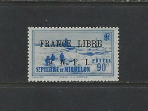 ST. PIERRE & MIQUELON - #238 - FRANCE LIBRE FNFL OVERPRINT MINT STAMP (1942) MNH