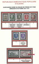 Albania stamps 1945 Mi 359-367 Mnh Vf some Ovpt Errors