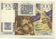 BILLET BANQUE 500 Frs CHATEAUBRIAND 02-01-1953 M A.138 SUP