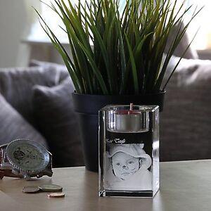 Kerze Klein Glas 3D Foto im Glas Gravur Geschenkidee 2D zu 3D zu Weihnachten