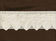 Shabby Cottage Charisma  WHITE Embroidered 4 inch wide cotton  lace Trim