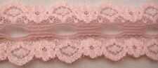 """5Y Pink Floral DOUBLE Scalloped Insert Lace Trim 1""""W US SHIPPER"""