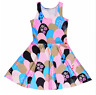 Colorful Clouds Triangle Flowers Fruit Kawaii Girly Cactus Heart Skater Dress