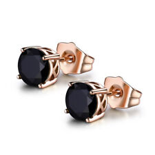 HUCHE Fashion Black Sapphire Crystal Rose Gold Filled Stud Women Party Earrings