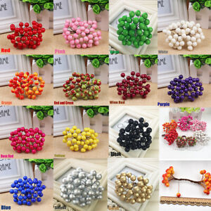 Artificial Holly Berry Flower  Pearl Cherry  Home Wedding Christmas Decor UK