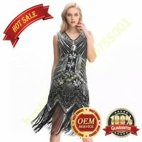 New 1920'S STYLE GATSBY VINTAGE CHARLESTON SEQUIN BEADED FLAPPER DRESS 10-24