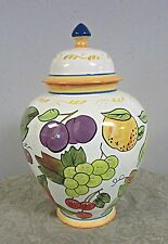"Biscotti Jar Canister Urn fruit pattern 12 1/2"" tall"