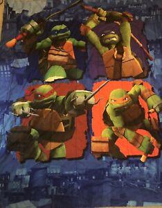 TMNT TEENAGE MUTANT NINJA TURTLES Nickelodeon Reversible Full COMFORTER 2 Shams