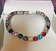 "GB multi round tourmaline 18ct 18k white gold tennis bracelet 7.25"" BOXED PlumUK"