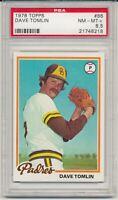 1978 Topps Dave Tomlin   #86  PSA 8.5  NM-Mint  San Diego Padres