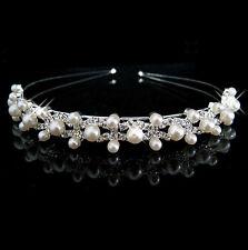 Multi Pearl Silver Crystal Cerchietto Sposa Fascia Per Capelli Diadema UK Shop