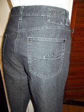 Pantalon jean bleu stretch CLARINA 40ND 42FR strass et logo brodé 16TS21