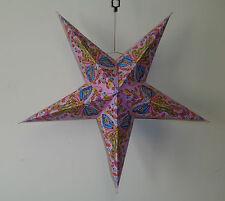 Diwali 5 Points étoile Papier Rose Abat jour Motif Papillon à paillettes