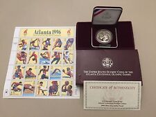 1996 Atlanta Centennial Olympic Games Proof Tennis Silver Dollar & 20 US Stamps