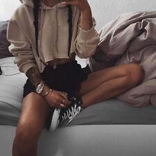 Women Hoodies Jumper Sweatshirt Sweater Casual Crop Top Coat Sports Pullover NEW