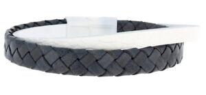 Clochard Fashion Mens Bracelet Leather Braided Grey Flat White Magnetic Closure