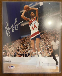George Gervin AUTOGRAPHED 8X10, PSA/DNA Matching Number Certification, Beauty!