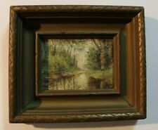 ANTIQUE Landscape Signed Framed Original Oil Painting on Wood Art vintage Hudson