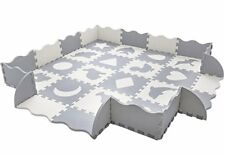 "Baby Play Mat with Fence | Superjare Thick (9/16"") Interlocking Foam Floor Tiles"
