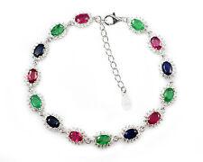 Natural Ruby Emerald Sapphire Gemstone 925 Sterliing Silver Women Chain Bracelet