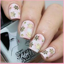 Christmas Nail Art Stickers Decals Metallic Gold Snowflakes Lace Gel Polish 131G