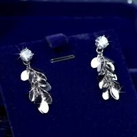 18k white gold gp made with SWAROVSKI crystal stud earrings tassel tinsel dangle