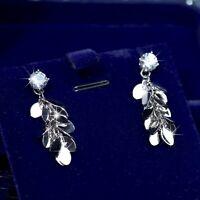 18k white gold gp made with SWAROVSKI crystal stud earrings tassel tinsel dangle