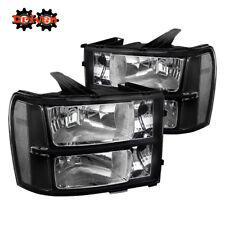 07-13 GMC Sierra Truck Black Housing Headlights w/Clear Reflector Crew Single