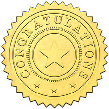 "Elegant GOLD embossed foil certificate seals ""CONGRATULATIONS"" - 50 pack"