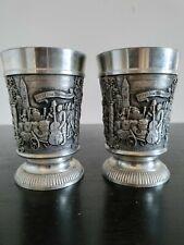 2 Vintage German Rein Zinn Gegossen 95% Pewter Cups matching identical