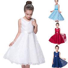 Blumen Mädchen Spitze Kleid Festkleid Kinder Hochzeit Party Spitzenkleid 92-158