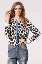 "MIRANDA"" GORGEOUS NEW SIZE 10-12 BLACK WHITE BLUE POLKA DOT CHIFFON SHIRT BLOUSE"