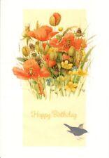 Marjolein Bastin Happy Birthday Birds In The Flower Poppies Garden Hallmark Card