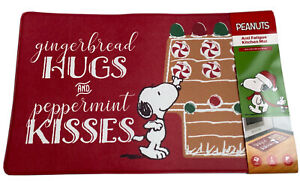 "Peanuts Snoopy Anti Fatigue Mat 18X30"" Gingerbread Hugs & Peppermint Kisses NWT"