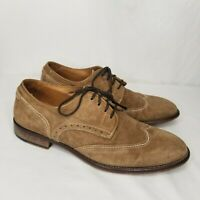 Johnston & Murphy Shoes Made In Italy Size 10 M Tan Suede Leather Wingtip Oxford