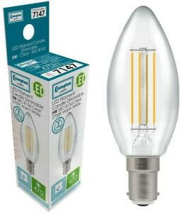 Pk of 5 5W SBC CANDLE LED FILAMENT CROMPTON 2700k DIMMABLE 470 Lumens 7147 BULB