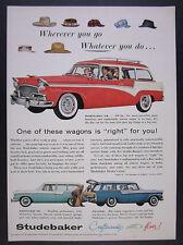 1956 Studebaker Pinehurst Parkview & Pelham Station Wagons vintage print Ad