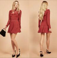 $218 REFORMATION Spark Dress Red Polka Dot Ruffle Bib Size 0 XS NWT