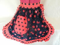 RETRO VINTAGE 50s STYLE HALF APRON / PINNY - BLACK with RED CHERRIES & RED TRIM