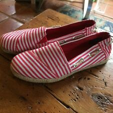 NAUTICA ESPADRILLE SIZE 8.5 RED & WHITE STRIPED Burlap Sides TOGGLE BACK SHOE
