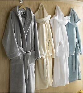 NEW Kassatex Luxurious Contempo 100% Mesopotamian Turkish Cotton Hooded Robe