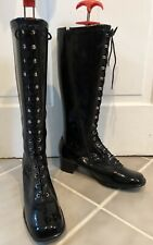 Vintage 1960's 70's Patent Vinyl Lace Up Boots 8 1/2 Never Worn Japan
