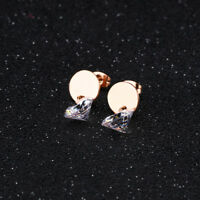 Cute Smooth Round CZ Rose Gold GP Surgical Stainless Steel Stud Earrings Gift