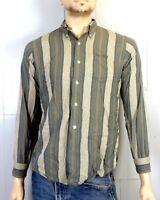 vtg 50s 60s Model ROCKABILLY Rayon Button Down Dress Shirt Oxford sz S 14.5