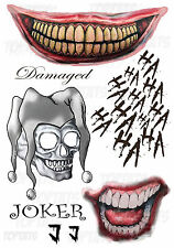 Joker Suicide Squad Fancy Dress Halloween Tattoos Batman,Scary Outfit Costume J1