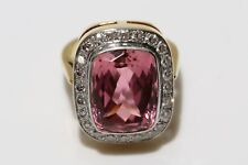 14.32ct Tourmaline & 0.48ct Diamond Dress Ring, 18ct  Gold, UK Size P, US 7.5