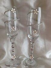 Occhiali Decorato Festa Matrimonio celebrationrhinestone e Daisy Champagne flauti