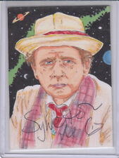 Sylvester McCoy Auograph & Stech Card by Scott Fellowes Dr Who